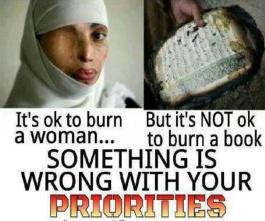 Quran Burning vs Burning Women